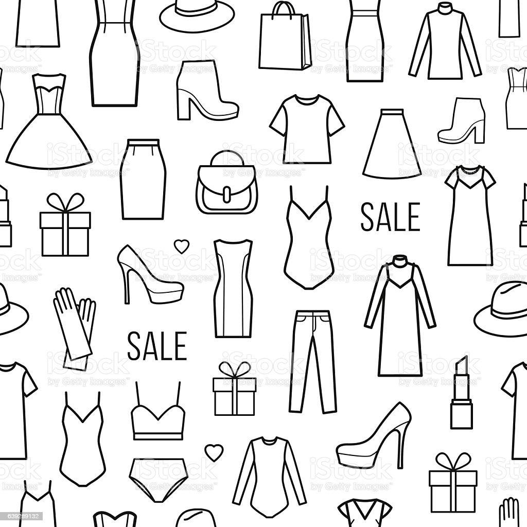 Vector seamless pattern of  womens clothing – Vektorgrafik