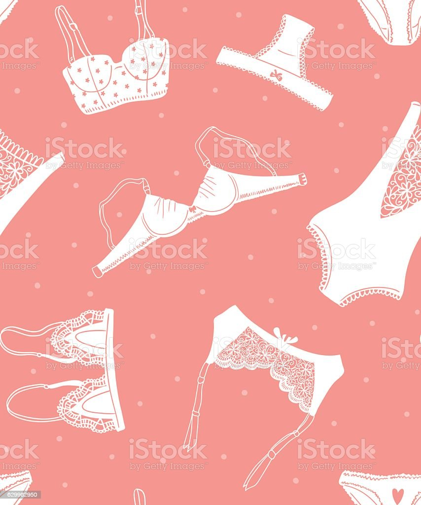 Vector seamless pattern of women's underwear on pink dotted background. vector art illustration