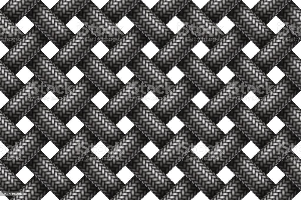 Vector seamless pattern of woven fabric braided cords. vector art illustration