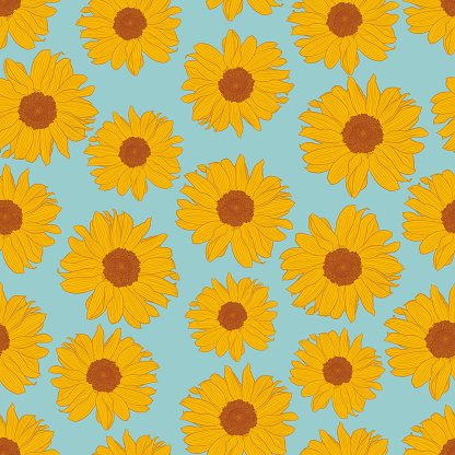 Vector seamless pattern of yellow sunflowers on light turquoise background