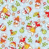 Vector seamless pattern on a Christmas theme with a snowman, and mouse. Illustration with cute hare and animals.
