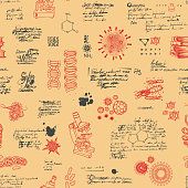 Vector seamless pattern on the theme of laboratory research, chemistry, Microbiology, medicine, genetics. Hand-drawn background with sketches and illegible entries in retro style on an orange backdrop