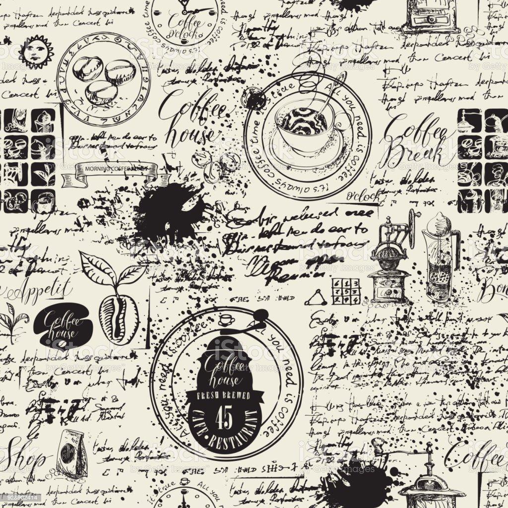 様々 なコーヒーのシンボルしみとレトロなスタイルの古い原稿の背景に