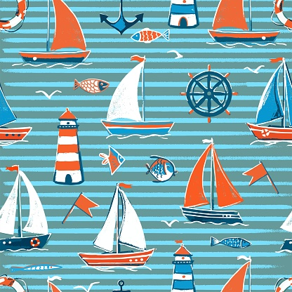 Vector seamless pattern on the sea theme in blue stripes. Sailboats on the sea with a lighthouse, fish