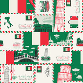 Vector seamless pattern on Italy theme with envelopes, architectural landmarks and Italian flag in retro style. Suitable for wallpaper, wrapping paper, fabric