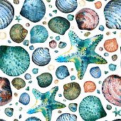 Vector Seamless pattern painted in watercolor with seashells and starfish on a white background.