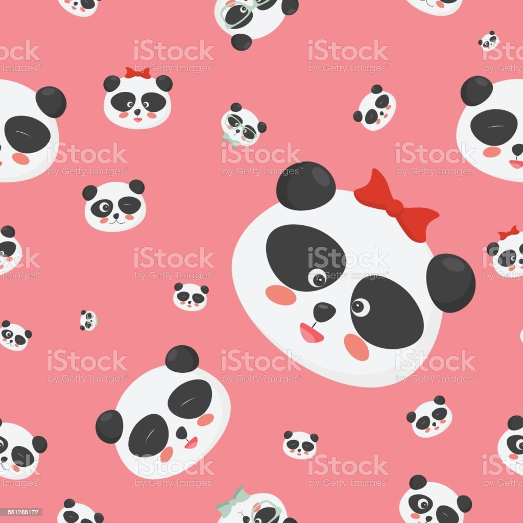 Vector seamless pattern: panda bear faces on a childish pink background, panda faces with different emotions. royalty-free vector seamless pattern panda bear faces on a childish pink background panda faces with different emotions stock vector art & more images of asia