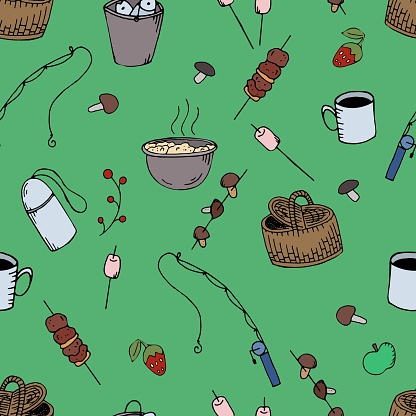 vector seamless pattern, picnic in nature on a green background
