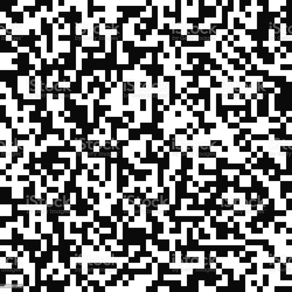 Vector seamless pattern. Random pixel texture. Black-and-white background. Monochrome QR code design.