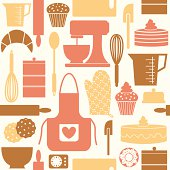 Seamless pattern in retro style with baking and kitchen items.