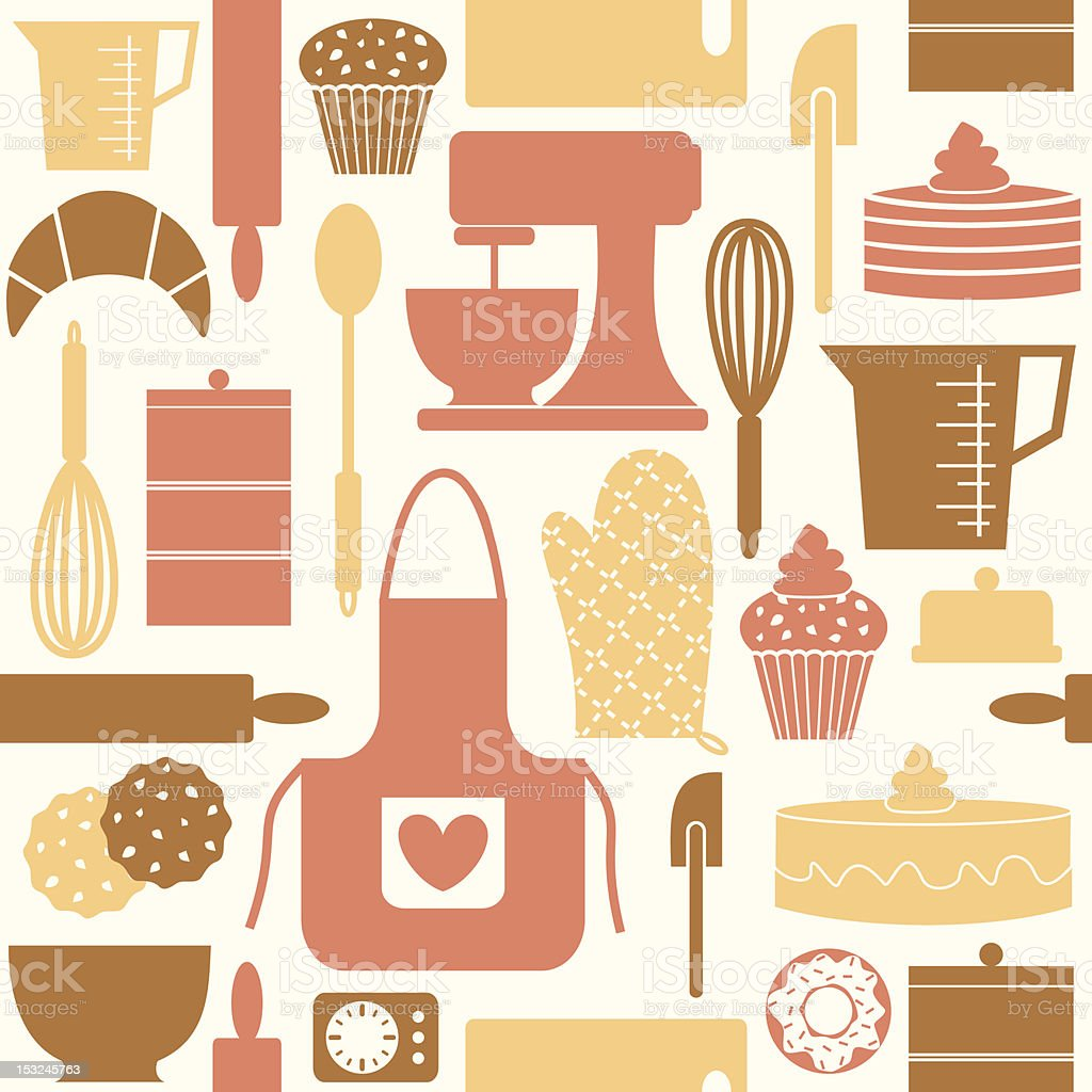 Vector seamless pattern retro kitchen gadgets vector art illustration