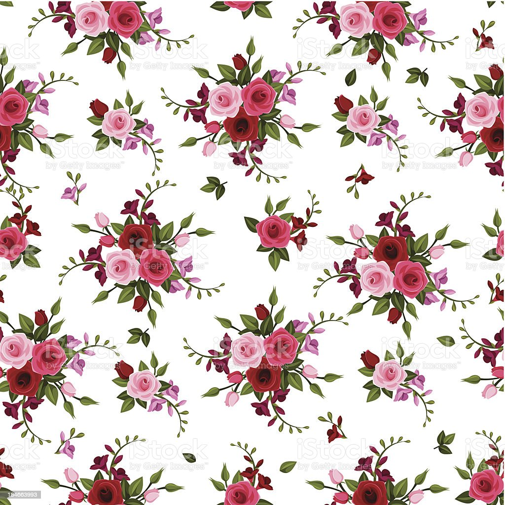 Vector seamless pattern roses and freesia. vector art illustration