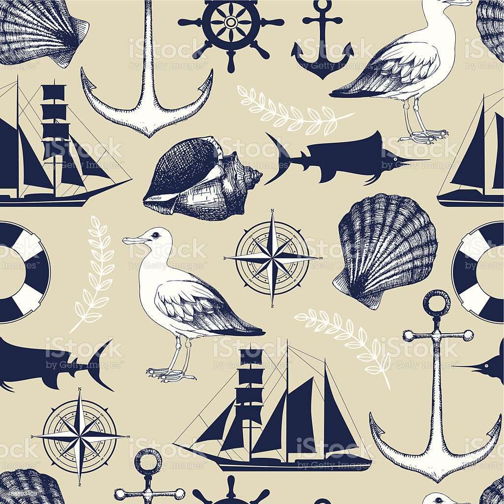 Vector seamless pattern  sea elements and  hand drawn illustrations vector art illustration