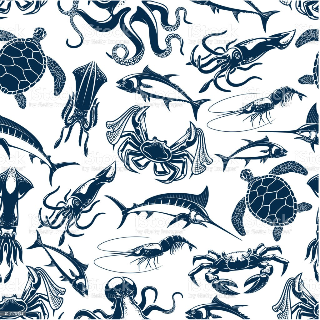 Vector seamless pattern sea fish fishing catch vector art illustration