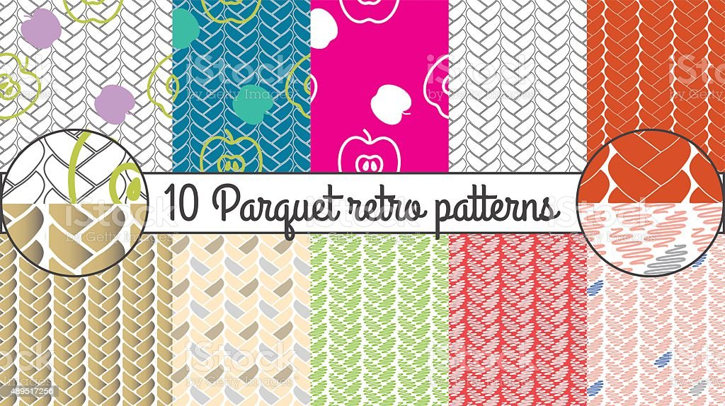 Vector seamless pattern set. Parquet retro background vector art illustration