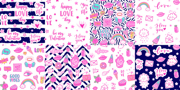 Vector seamless pattern set with fashion fun patches: lip, star, strawberry, cake, camera, on background. Pop art pink lovely stickers, patches for wedding, Valentine's Day, love prints