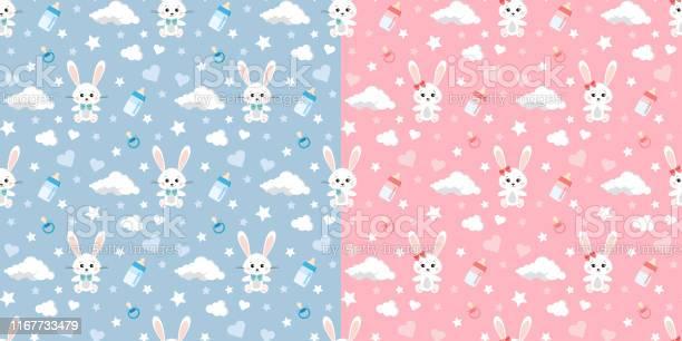 Vector seamless pattern set with rabbit clouds stars dummy baby on vector id1167733479?b=1&k=6&m=1167733479&s=612x612&h=txyusus3ymwknqlwwsfkjhblj lpcp409te1z gpf c=