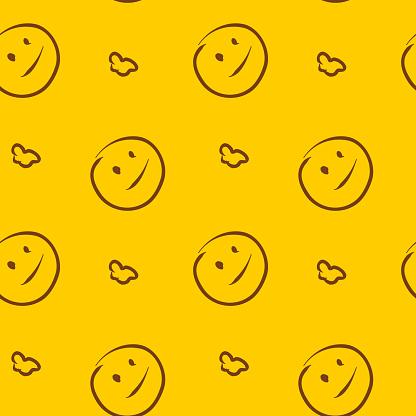 Vector seamless pattern smile. Background illustration, decorative design for fabric or paper. Ornament modern