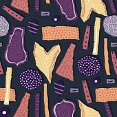 Vector seamless pattern. Torn paper decorated paint and ink spots. Different shapes with rough ribbed and jagged edges. Grunge texture. Applique of scraps with stains. Wallpaper, wrapping, textile