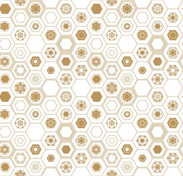 ベクターのシームレスなパターン、伝統的な幾何学的な背景、ゴールド民族飾り。 ベクターアートイラスト