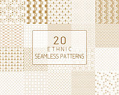 Vector seamless pattern, traditional geometric background, gold ethnic ornament.