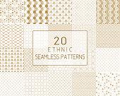 ベクターのシームレスなパターン、伝統的な幾何学的な背景、ゴールド民族飾り。