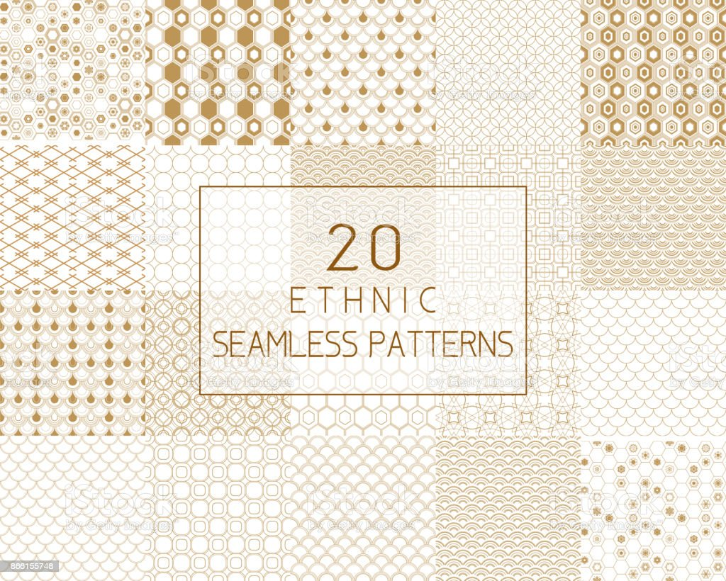 Vector seamless pattern, traditional geometric background, gold ethnic ornament. vector art illustration