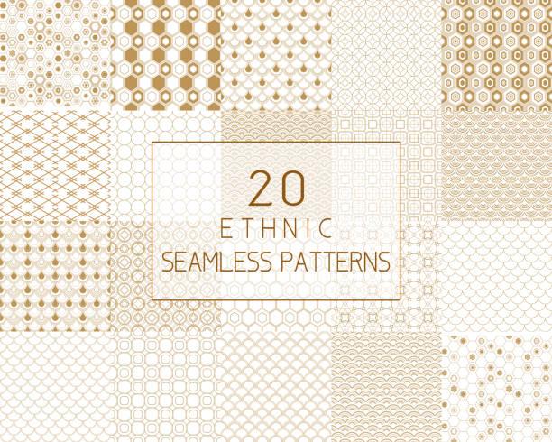 ベクターのシームレスなパターン、伝統的な幾何学的な背景、ゴールド民族飾り。 - ファブリックのテクスチャ点のイラスト素材/クリップアート素材/マンガ素材/アイコン素材