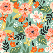 Vector seamless pattern with roses and abstract flowers in vintage style for fabric