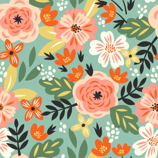 Vector seamless pattern Vector seamless pattern with roses and abstract flowers in vintage style for fabric springtime stock illustrations