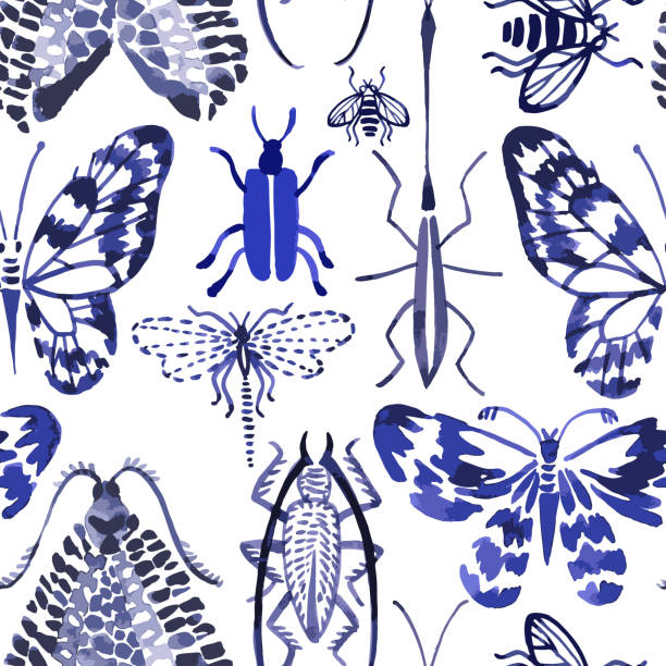 Vector seamless pattern Vector seamless pattern made of watercolor insects. Hand drawn butterflies, beetles, dragonfly, bee. Watercolor texture. Backdrop for wallpaper, textiles, fabric, clothes, wrapper, surface. arthropod stock illustrations