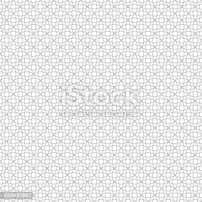 Vector seamless pattern. Modern stylish geometric texture with intersecting outline circles. Regularly repeating geometrical tiles with stars, rhombuses, round elements.
