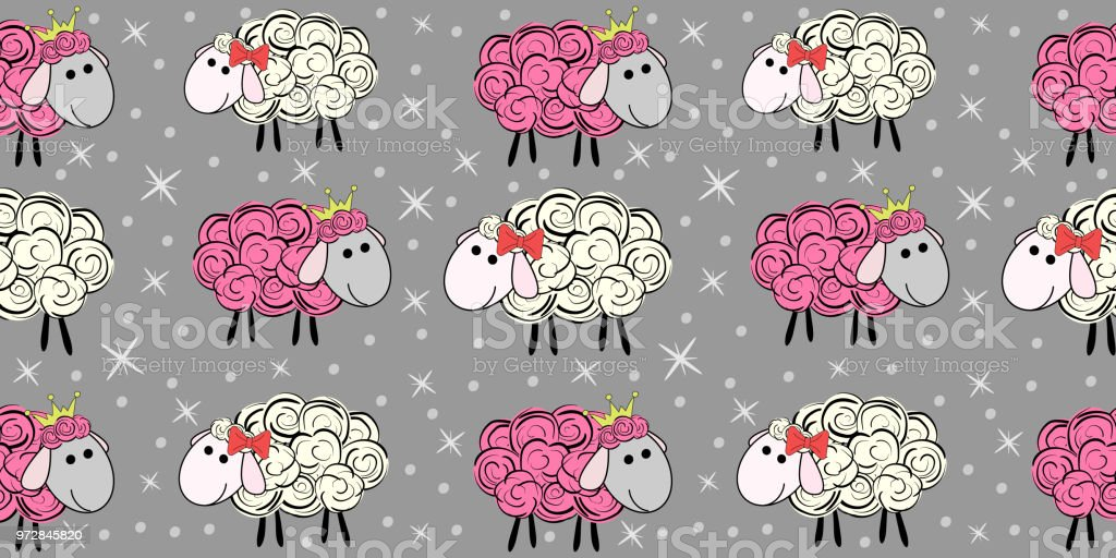 Vector Seamless Pattern With A Sheep Illustration Of Cartoon Prints For Textiles