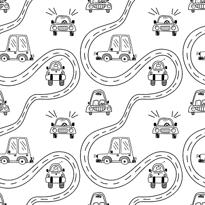 Vector seamless pattern with a variety of cute cars and a road on a doodle-style white background
