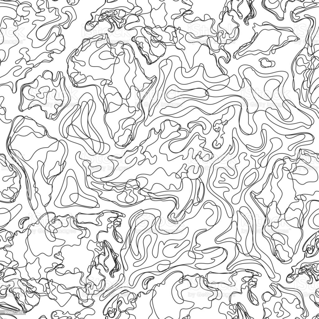 Vector seamless pattern with abstract contour topographic map. Topography, geodesy texture. Outline landscape background