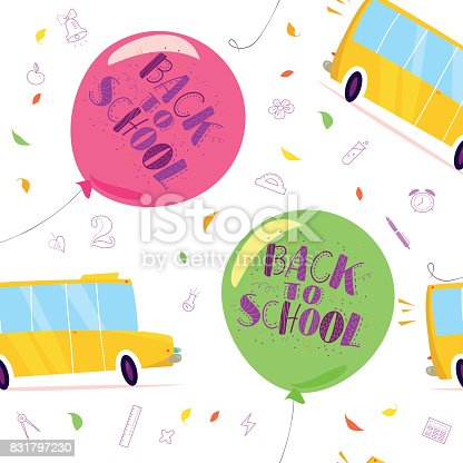 Vector Seamless Pattern With Air Balloons Lettering Yellow School