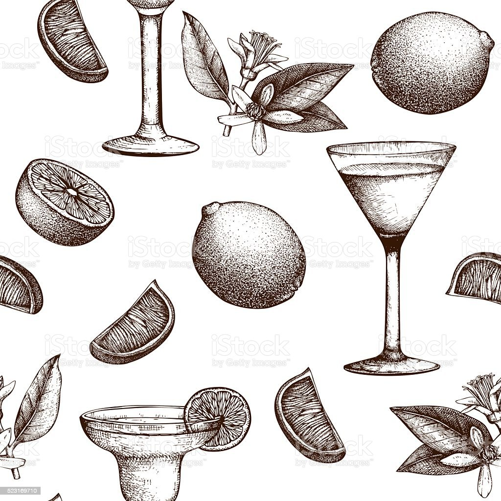 Vector seamless pattern with  alcoholic cocktails sketch with lime. vector art illustration