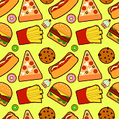 Vector seamless pattern with american fast food. Fun and bright colorful background. Wallpaper with an image tasty foot. EPS