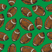 vector seamless pattern with American football balls. Rugby sport. Cartoon style background.