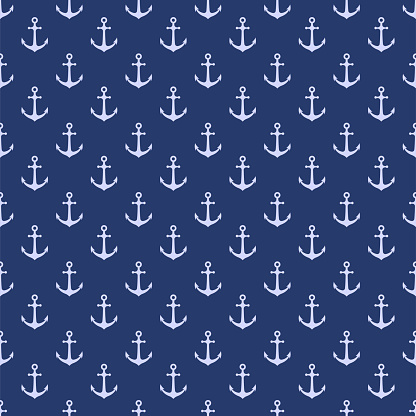 Vector seamless pattern with anchor. Nautical background. Marine pattern. Vector