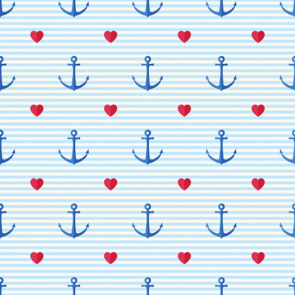 Vector seamless pattern with anchors, hearts and lines. Nautical background in minimalistic style. Vintage maritime backdrop for texture, paper, card, textile, scrapbook