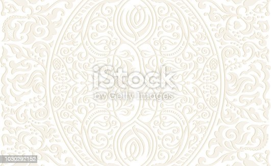 Vector seamless gold pattern with art ornament. Vintage elements for design in Victorian style. Ornamental lace tracery background. Ornate floral decor for wallpaper. Endless texture