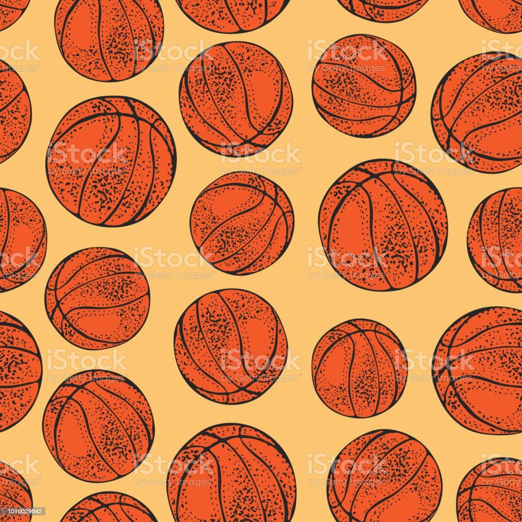 Vector seamless pattern with basketball balls. Hand drawn Sport...