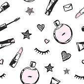 Vector fashion seamless pattern. Hand drawn fashion illustration with cosmetics, perfume, lipstick and others. Objects isolated on white. Beauty vector illustration