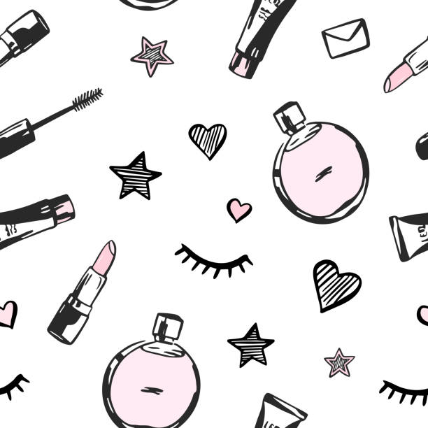 ilustrações de stock, clip art, desenhos animados e ícones de vector seamless pattern with beauty products - make up