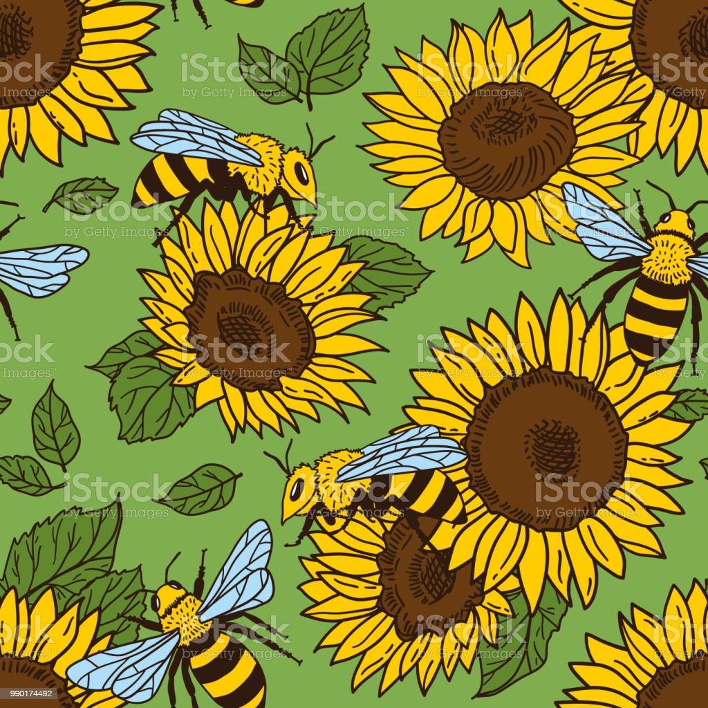 Vector Seamless Pattern With Bees And Sunflowers Black And Yellow