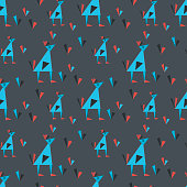 Vector seamless pattern with birds in geometric style. Origami figures on dark background . Pattern for fabric, children's clothing, textiles, wrapping paper and other surfaces.