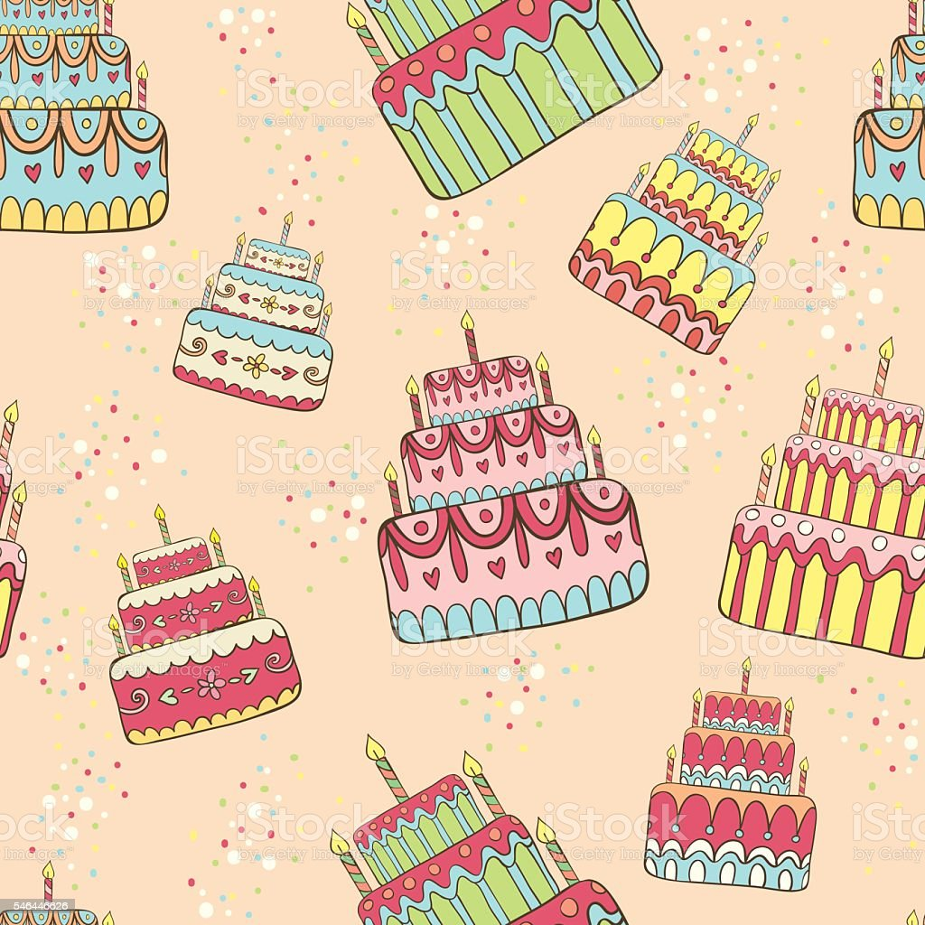 Vector Seamless Pattern With Birthday Cakes Stock Vector Art More