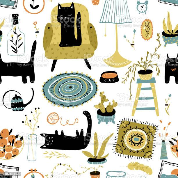 Vector seamless pattern with black cats in the scandinavian interior vector id1187421479?b=1&k=6&m=1187421479&s=612x612&h=oegpfblv3c kzvdop5cv91deryxeu8wrfxxdpgewilw=