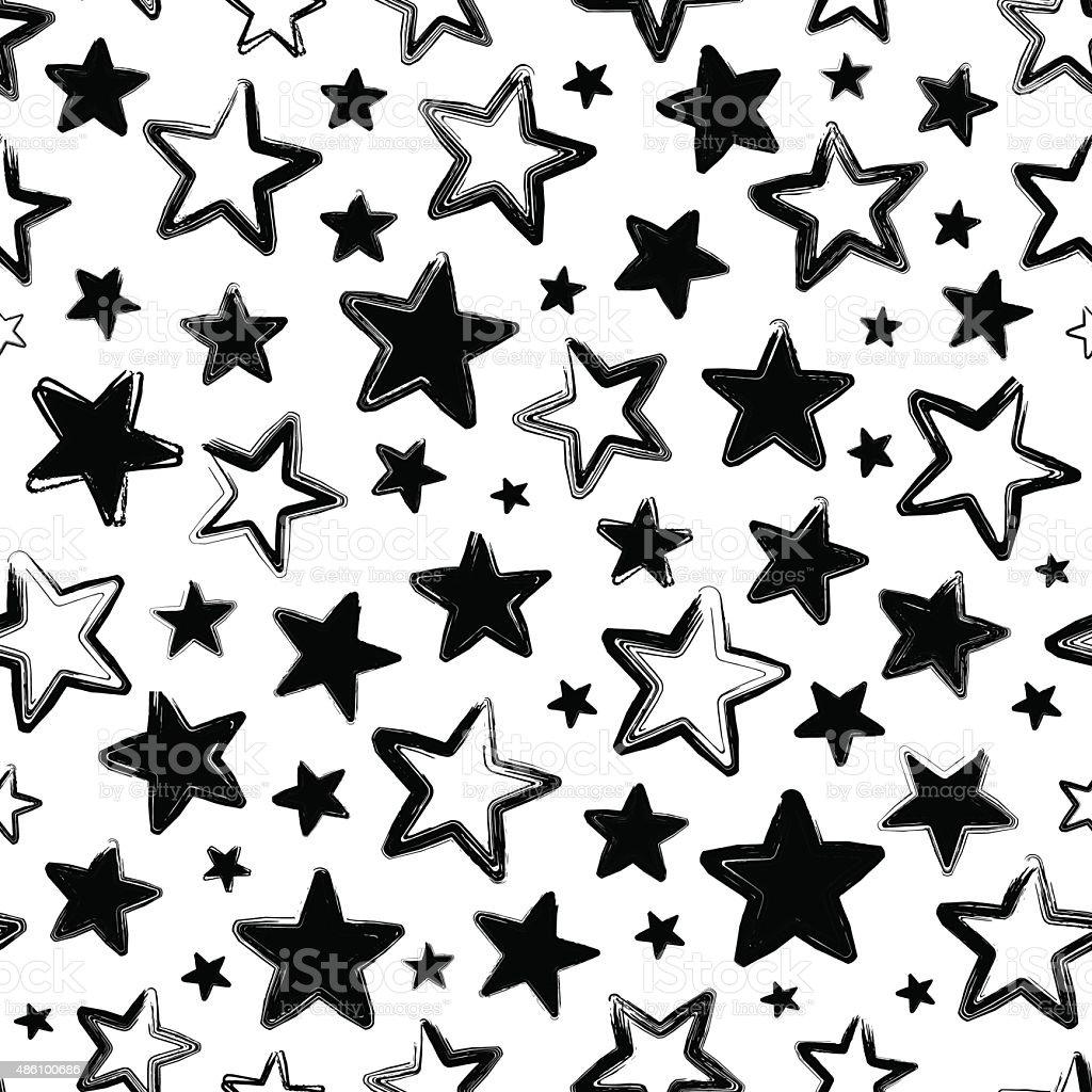 Vettoriale Seamless Pattern Nero Con Stelle Su Sfondo Bianco